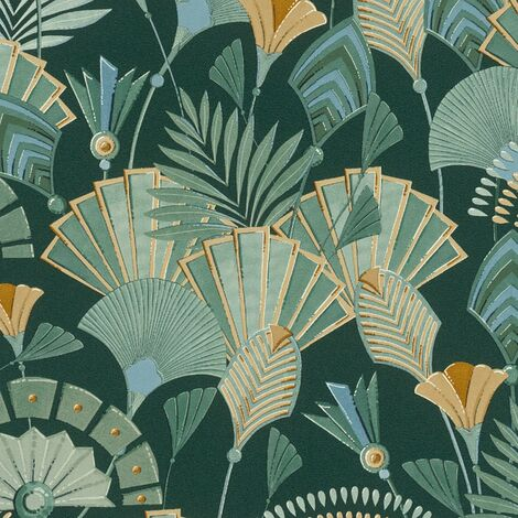 Art Deco Leaf Wallpaper Rasch Retro Green Cream Paste The Wall Vinyl Floral