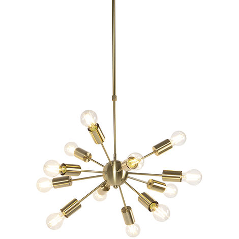 Art Deco Pendant Lamp 12 Gold with Adjustable Rod - Facil