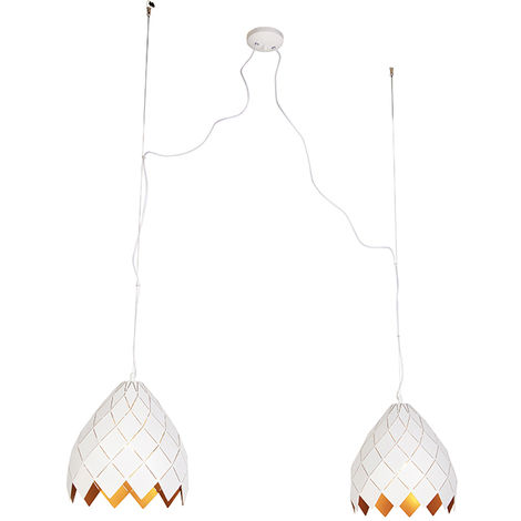 Art Deco Pendant Lamp 2 White with Gold - Citrine