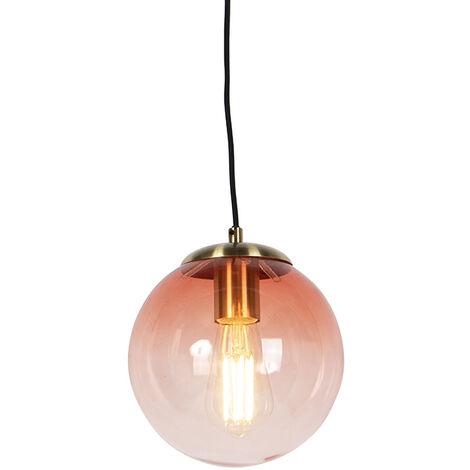 Art Deco Pendant Lamp Brass with 3 Dark Pink Shades - Pallon