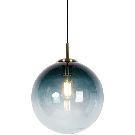 Art Deco Pendant Lamp Brass with 33cm Ocean Blue Shade - Pallon