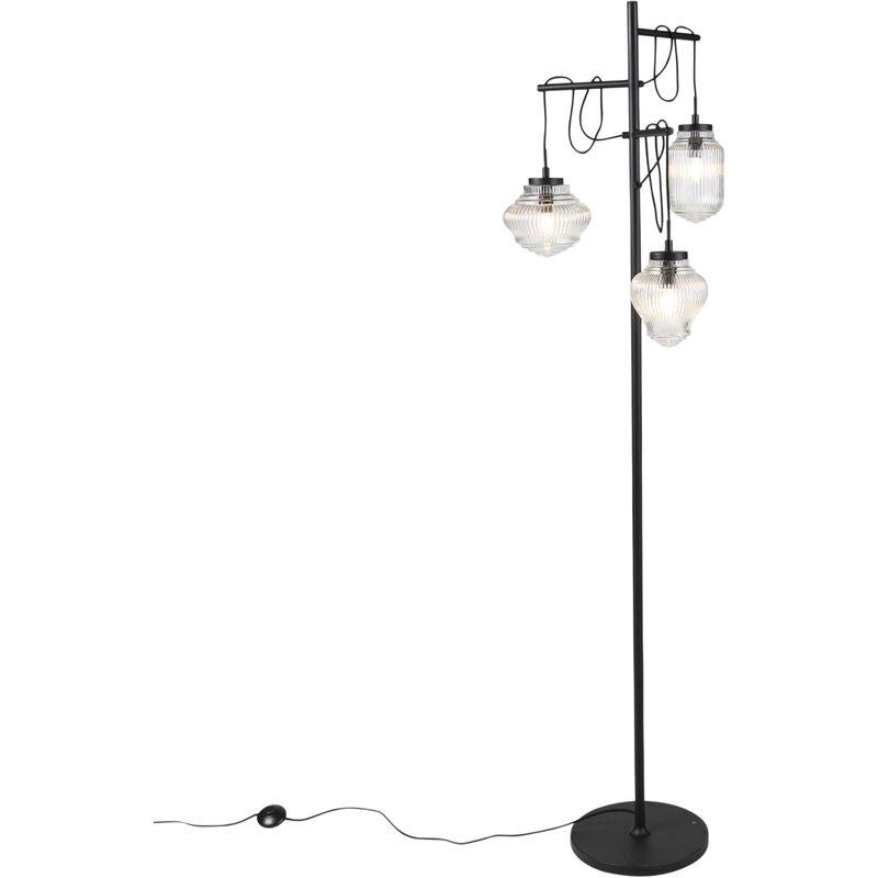 Art Deco Stehleuchte schwarz mit klarem Glas 3-Licht - Bolsena - QAZQA