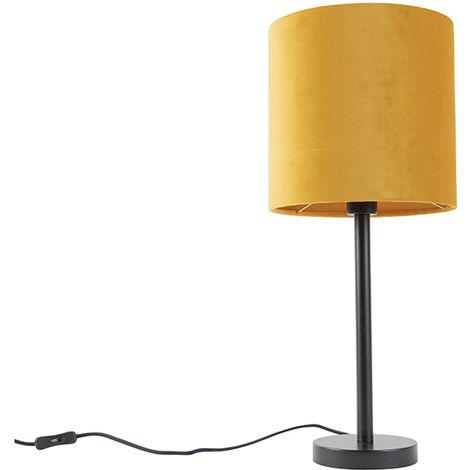 Art Deco Table Lamp Black with 25cm Velvet Ochre Shade - Simplo