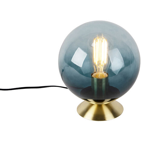 """main image of """"Art Deco table lamp brass with blue glass - Pallon"""""""