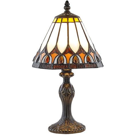 Art Deco Tiffany Glass Table Lamp with Amber Shade by Happy Homewares