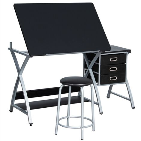 Art/Drawing Desk with Adjustable Height Tiltable Tabletop Drafting Board Craft Table with Storage Drawers and Stool Studying Table