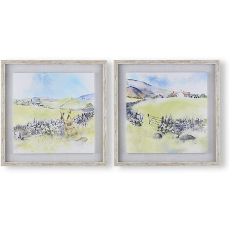 Art for the Home Country Meadows Set of 2 Framed Floating Canvas