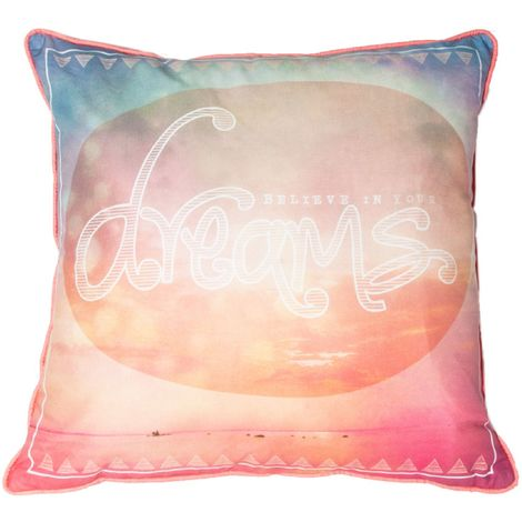 Art For The Home Dream Quote Bright Cotton Filled Cushion (Was £20)