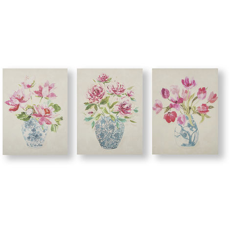 Art for the Home Floral Ginger Jars Set of 3 Canvas Printed Canvas
