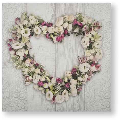 Art for the Home Floral Heart Printed Canvas