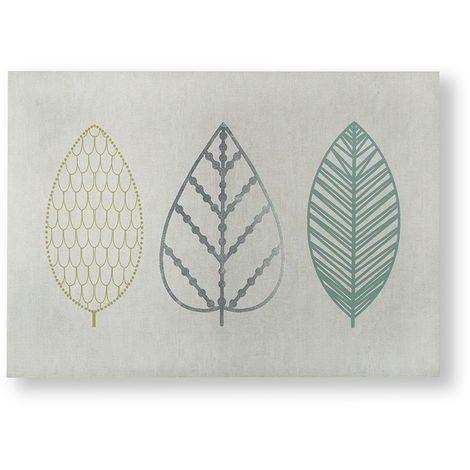 Art for the Home Scandi Leaf Trio Metallic Floral Printed Canvas