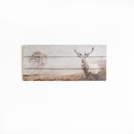 Art for the Home Stag Print On Wood Wall Art
