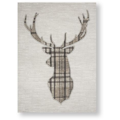 Art for the Home Tartan Stag Printed Canvas