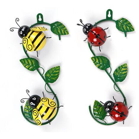 Art mural en métal abeille sculpture 3D décoration murale décorative avec des feuilles vertes pour jardin mur patio cour décoration intérieure et extérieure 2 pièces (rouge + vert)