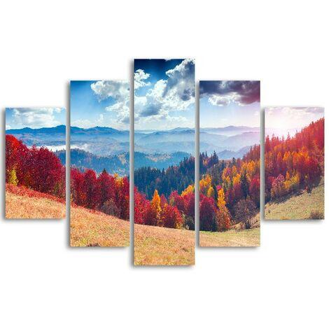 Tableau Wall - Nature et paysages - pour Salon, Chambre -Multicolore en MDF, 19 x 0,3 x 40 cm