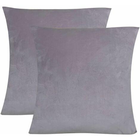 Art Stretch Velvet Fabric Non-slip Stretch Sofa Cover Large Elastic Sofa Furniture Cover (Gray, 2PCS Cushion Cover)