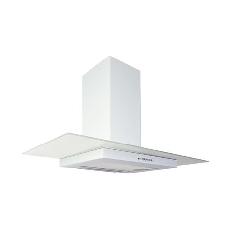 ART11414 90cm White Flat Glass Cooker Hood