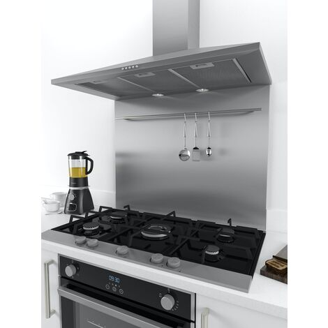 ART1142 90x75cm Stainless Steel Splashback With Utensil Rail