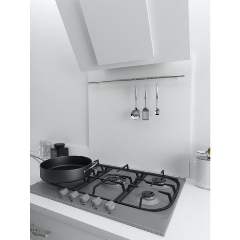 ART1147 70cm x 75cm White Splashback With Utensil Rail