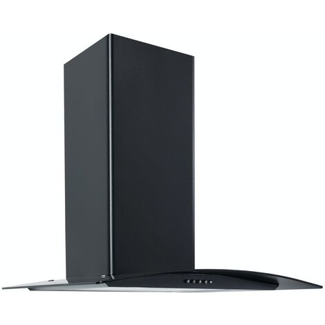 ART28370 60CM BLACK CURVED GLASS COOKER HOOD