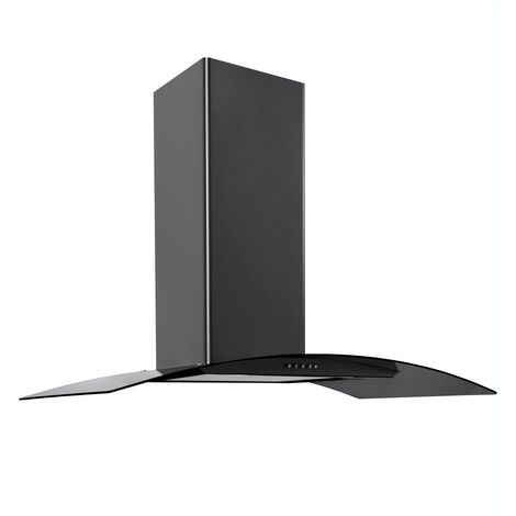 ART28374 90CM BLACK CURVED GLASS COOKER HOOD
