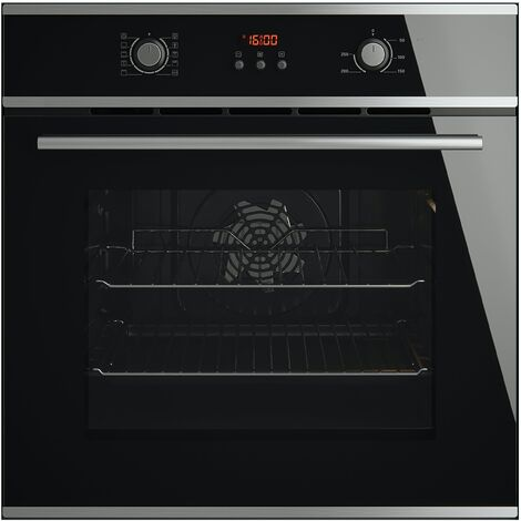 ART28706 60cm Built-in Deluxe Black Glass Multifunction Single Fan Oven With LED Programmer