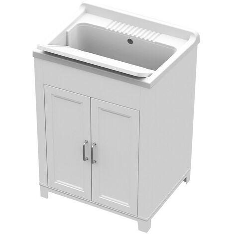 Art.9232 Fregadero resina y pvc 60x50cm mueble blanco para interior o exterior
