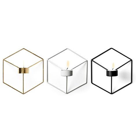 Arte geometrico 3D Candelabro de pared de metal sostenedor de vela de la sala de estar arca de la TV Decoracion, 3PCS
