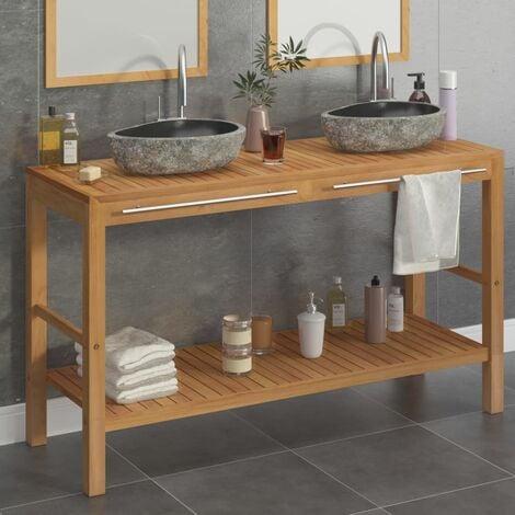 Arterburn Solid Teak 1320mm Free-Standing Double Vanity Unit by Bloomsbury Market - Brown