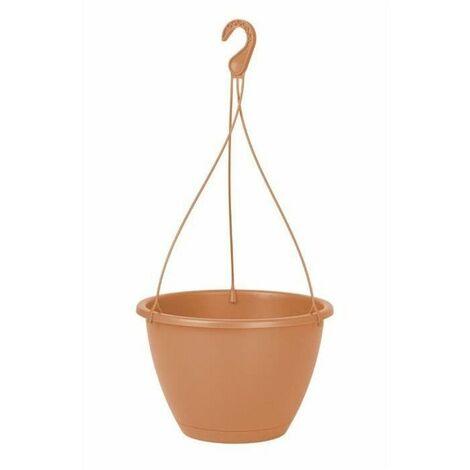 ARTEVASI Pot de fleurs suspendu Algarve - 6,3 L - 25,2 x 25,2 x 17,1 cm - Terre cuite claire - Couleur Terre Cuite
