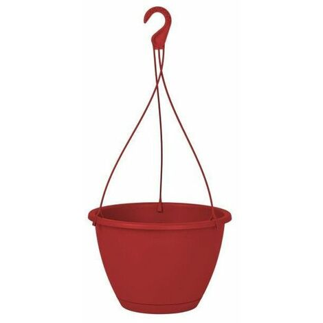 ARTEVASI Pot de fleurs suspendu Algarve - 8 L - 31 x 31 x 20,5 cm - Rouge foncé