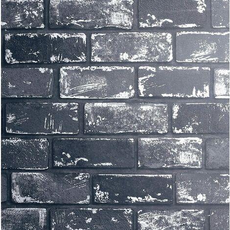 Arthouse 3D Effect Metallic Brick Wallpaper Black Silver Grey Stone Industrial