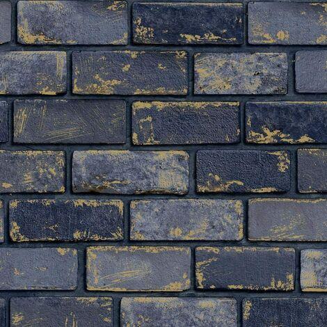 Arthouse 3D Effect Navy Blue Gold Metallic Brick Wallpaper Stone Industrial