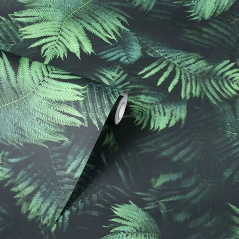 Arthouse Black And Green Fern Wallpaper Smooth Finish Feature Wall