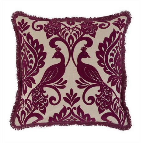 Arthouse Boutique Borromeo Damson Flock Cushion Cover with Fringe Edge