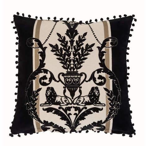 Arthouse Boutique Leonardo Gold Rush Flock Cushion Cover with Bobble Edge