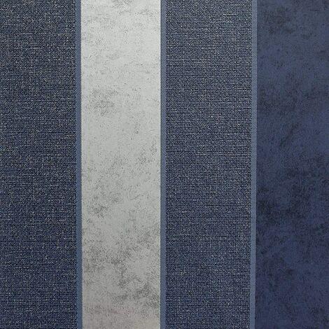 Arthouse - Calico Stripe Textured Metallic Wallpaper - Navy Grey Silver 921302