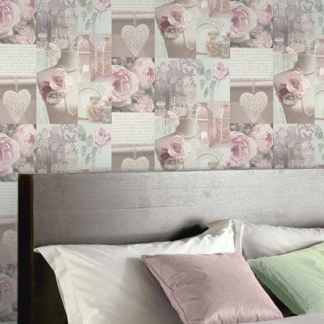 Arthouse Charlotte Montage Blush Flowe Floral Writing Motif Wallpaper Cream