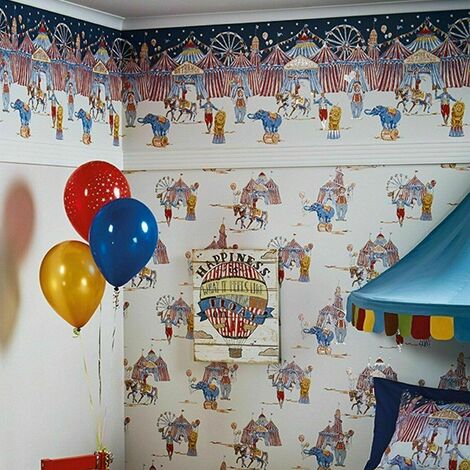 Arthouse Circus Fun Cream Red Blue Glitter Shimmer Kids Wallpaper Border Frieze