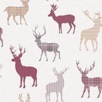 Arthouse Country Stag Red/ Cream Wallpaper
