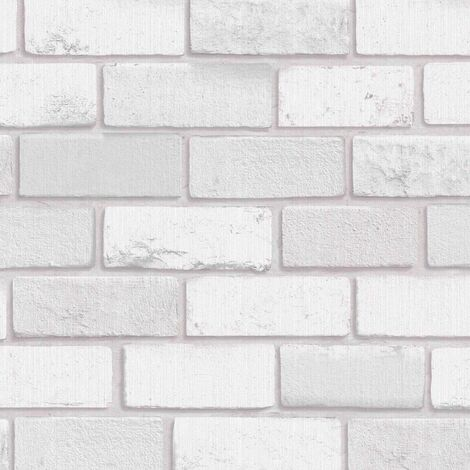 Arthouse Diamond White Brick Glitter Textured Pattern Modern Wallpaper 902009