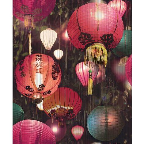Oriental Japanese Lantern Wallpaper Luxury Textured Vinyl Black Multi Arthouse