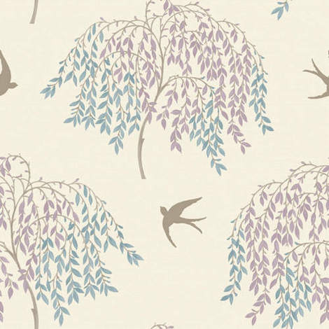Arthouse Enchantment Wallpaper Willow Song Duck Egg/Heather 664701 - Full roll