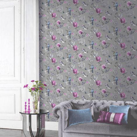 Arthouse Paradise Garden Silver Glitter Wallpaper