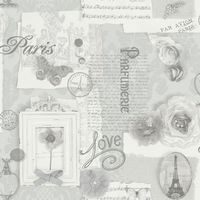 Arthouse Felicity Silver Paris Calligraphy Floral Butterfly Feature Wallpaper