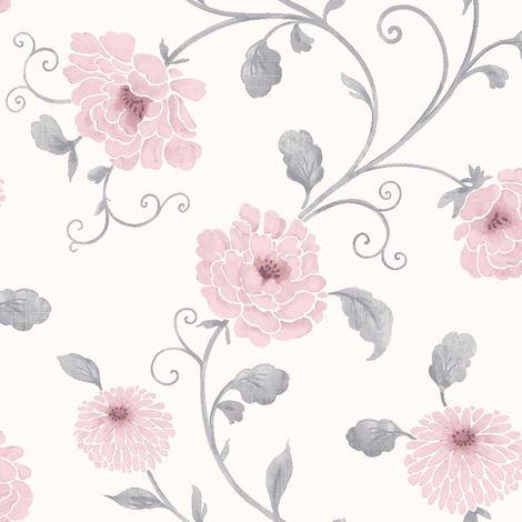 Arthouse Floral Trail Wallpaper White Grey Pink Metallic Shiny Flower Antoinette