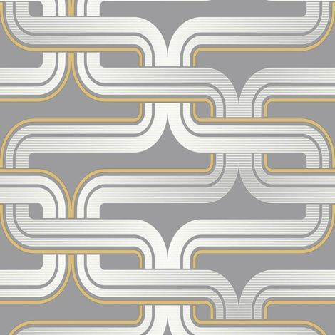 Arthouse Geometric Wallpaper Retro Grey Yellow Luxury Quality Pattern Spongeable