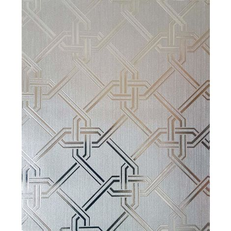 Arthouse Gianni Geometric Silver Foil Metallic Wallpaper