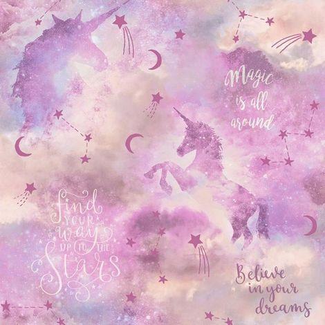 Arthouse Glitter Unicorn Wallpaper Blush Pink Stars Shimmer Typography Vinyl