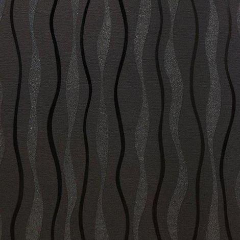 "main image of ""Arthouse Glitz Wavey Stripe Wallpaper Black Silver Glitter Shimmer Lines Vinyl"""